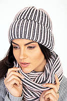 Теплый женский комплект шапка и шарф-петля серо-розовый