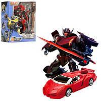 Трансформер JQ6102 металлический красный робот с мечем- спортивная машина в коробке