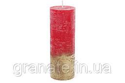 Свеча цилиндрическая 20х7см амбре, цвет - рубиновый с золотом