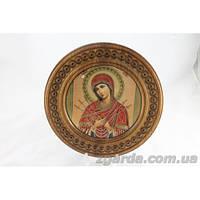 Деревянная тарелка ручной работы с иконой (35 см.)