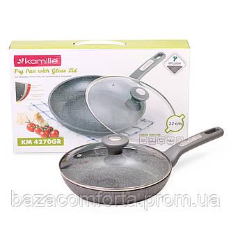 Сковорода 22см с гранитным покрытием и крышкой Kamille 4270GR, фото 2