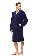 Чоловічий халат L&L KAJ з капішоном бамбук-велюр