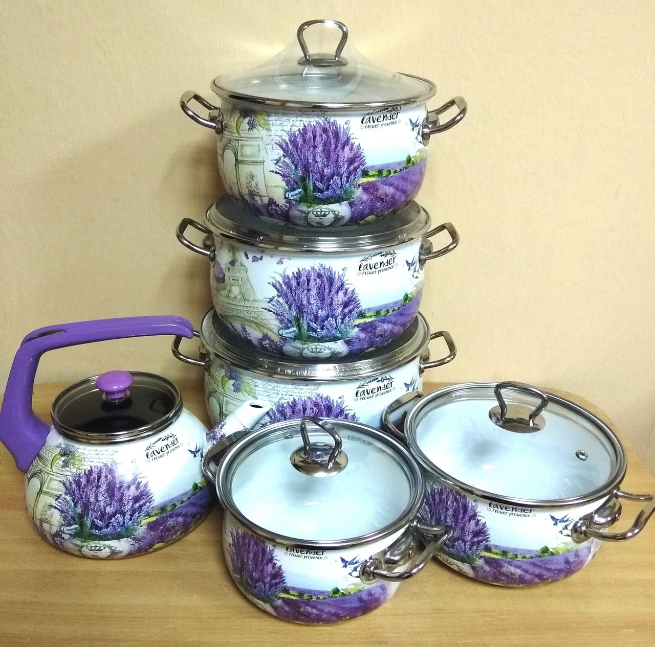 """Набор посуды эмалированной """"Лаванда"""" (5 кастрюль + чайник) 16707"""