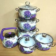 """Набор посуды эмалированной """"Лаванда"""" (5 кастрюль + чайник) 16707, фото 1"""