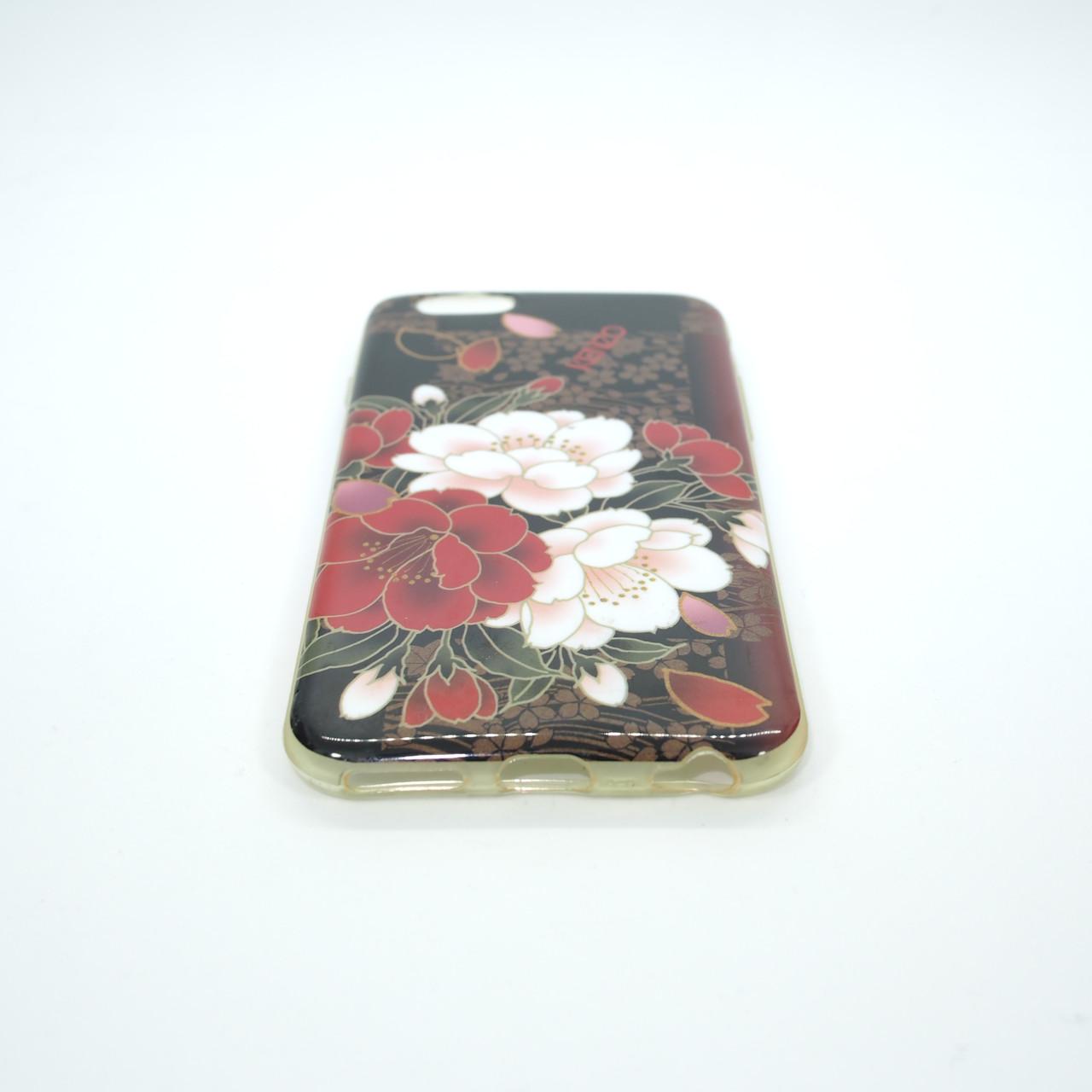 Чехол TPU iMD Print Flowers iPhone 6 red Для телефона