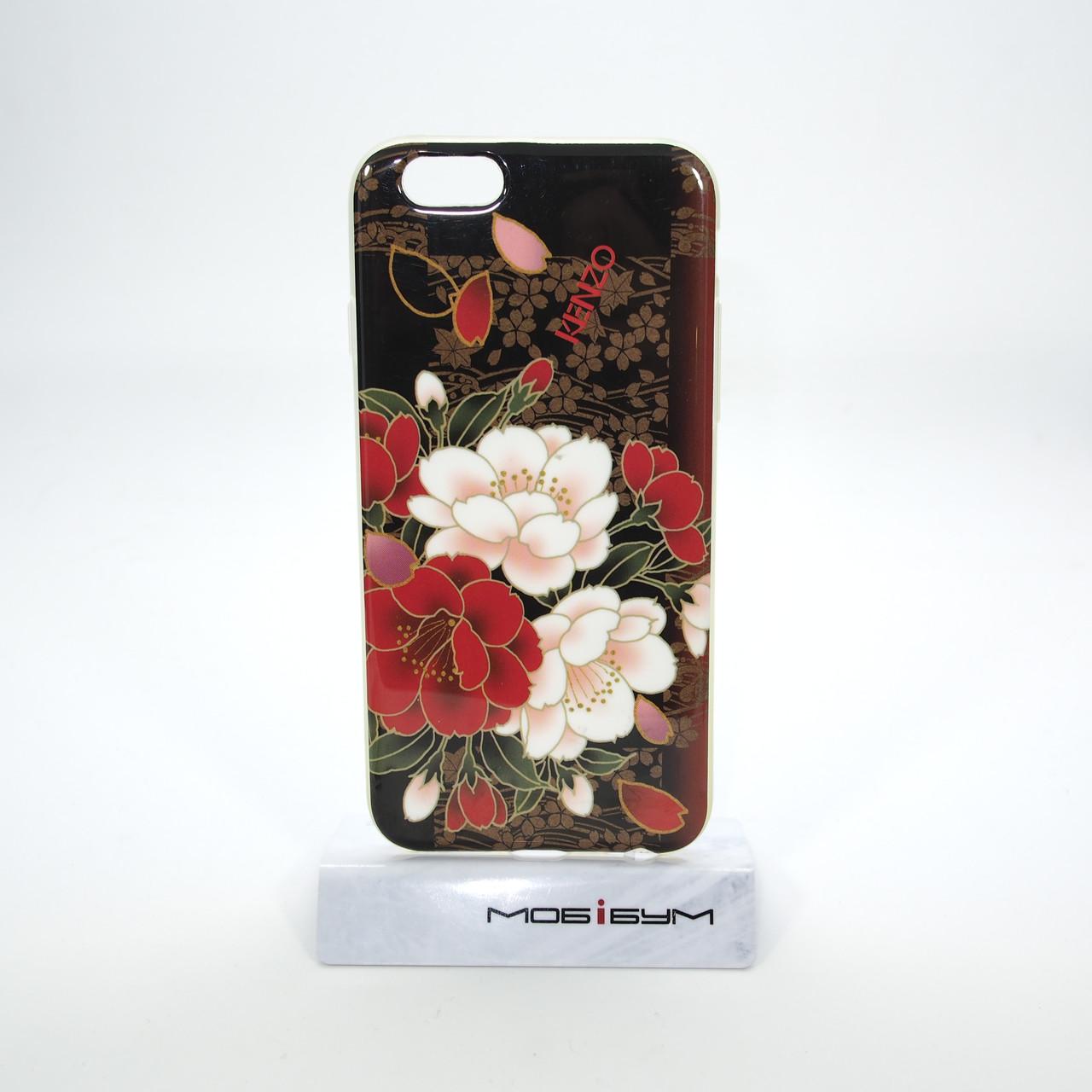 Чехол TPU iMD Print Flowers iPhone 6 red