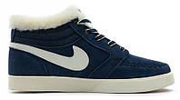 "Кроссовки Nike Blazer Mid ""Navy"" С МЕХОМ  (Копия ААА+)"