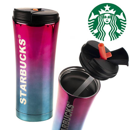 Термокружка старбакс Starbucks с трубочкой 500 мл, Красно-синяя, Градиент, фото 2