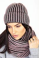 Зимний женский комплект шапка и шарф-петля черно-розовый
