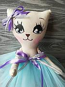 Игрушка кошка в нежно-голубом платье ручная работа hand made