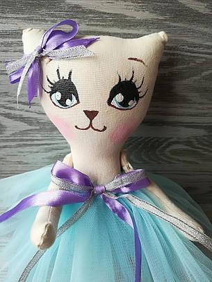 Игрушка кошка в нежно-голубом платье ручная работа hand made, фото 2