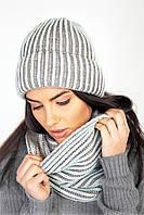 Мягкий женский комплект шапка и хомут фисташково-серый