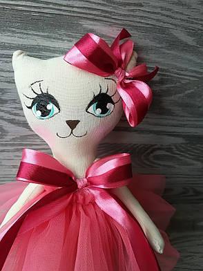 Игрушка кошка в коралловом платье ручная работа hand made, фото 2
