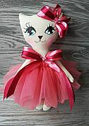 Игрушка кошка в коралловом платье ручная работа hand made