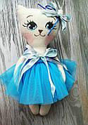 Игрушка кошка в голубом платье 2 ручная работа hand made