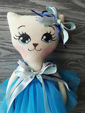 Игрушка кошка в голубом платье 2 ручная работа hand made, фото 2