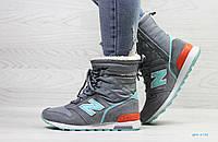 4cdc1a6a4672 Зимние женские кроссовки New Balance серые с мятой   кроссовки женские  зимние Нью Беланс