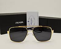 Мужские солнцезащитные очки Prada 0805 цвет черный с золотом