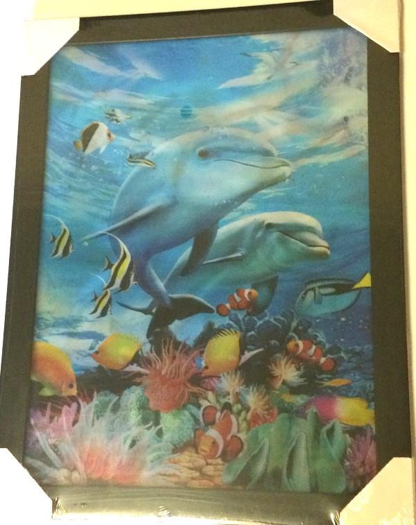Картина трёхмерная Дельфины