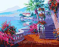 Картина по номерам Menglei MG1094 Набережная в цветах 40 х 50 см 950 море
