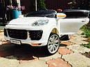 Детский электромобиль Джип M 3557 EBLR-1, Porsсhe, колеса EVA, кожаное сиденье, белый, фото 4