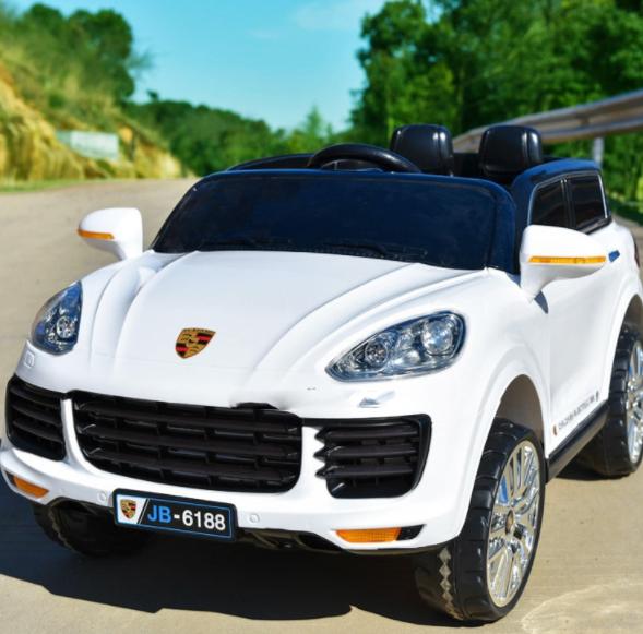 Детский электромобиль Джип M 3557 EBLR-1, Porsсhe, колеса EVA, кожаное сиденье, белый