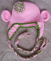 Вязанная шапочка для девочки 6-10 мес, весна, осень Розовая обезьянка