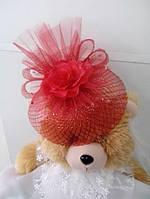 Шляпка-вуалетка детская (красная)