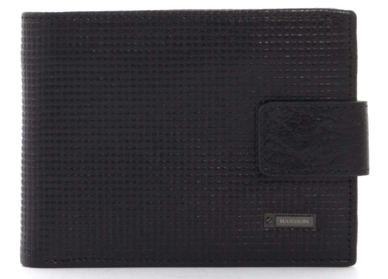 Кожаный тисненыйчерный аккуратный мужской кошелек с зажимом для денег Hassionart. LF302-9 black, фото 1