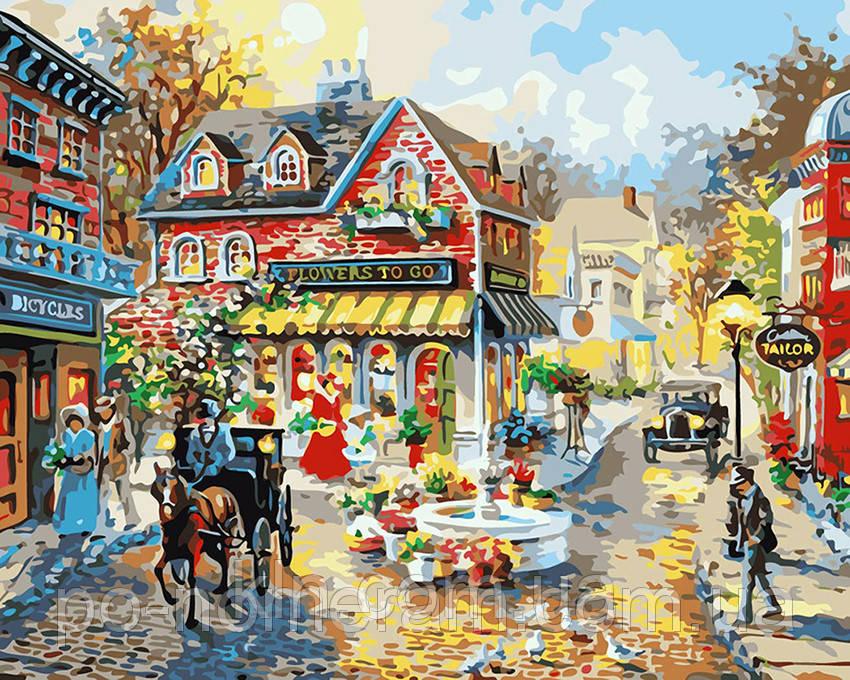 Картина за номерами Menglei MG1112 Міська площа 40 х 50 см 950 місто