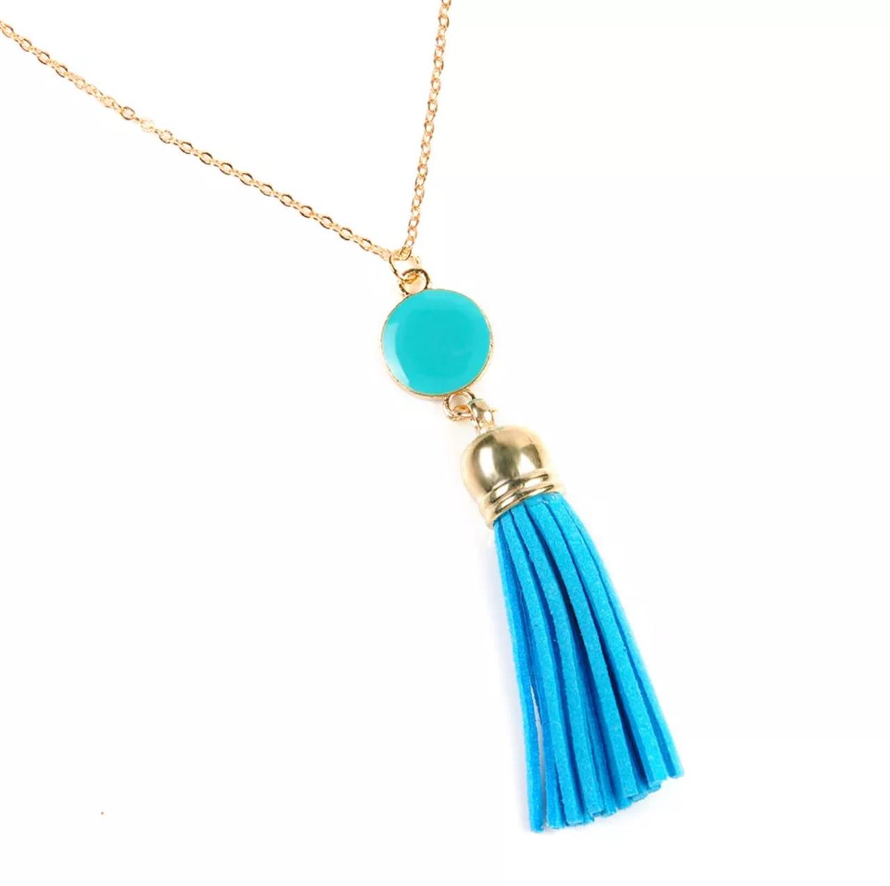 66d626edf918 Модная женская подвеска кисть украшение на шею, бижутерия «Blue styles»  (голубой
