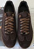 Италия классические туфли кеды мужские коричневые кожа с замшей, фото 3