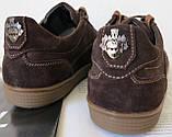 Италия классические туфли кеды мужские коричневые кожа с замшей, фото 4