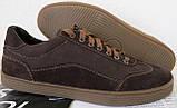 Италия классические туфли кеды мужские коричневые кожа с замшей, фото 5