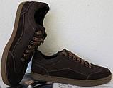 Италия классические туфли кеды мужские коричневые кожа с замшей, фото 6
