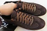 Италия классические туфли кеды мужские коричневые кожа с замшей, фото 7