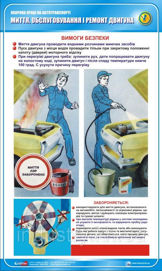 Стенд. Охорона праці на автотранспорті. Миття, обслуговування і ремонт двигуна. 0,6х1,0. Пластик