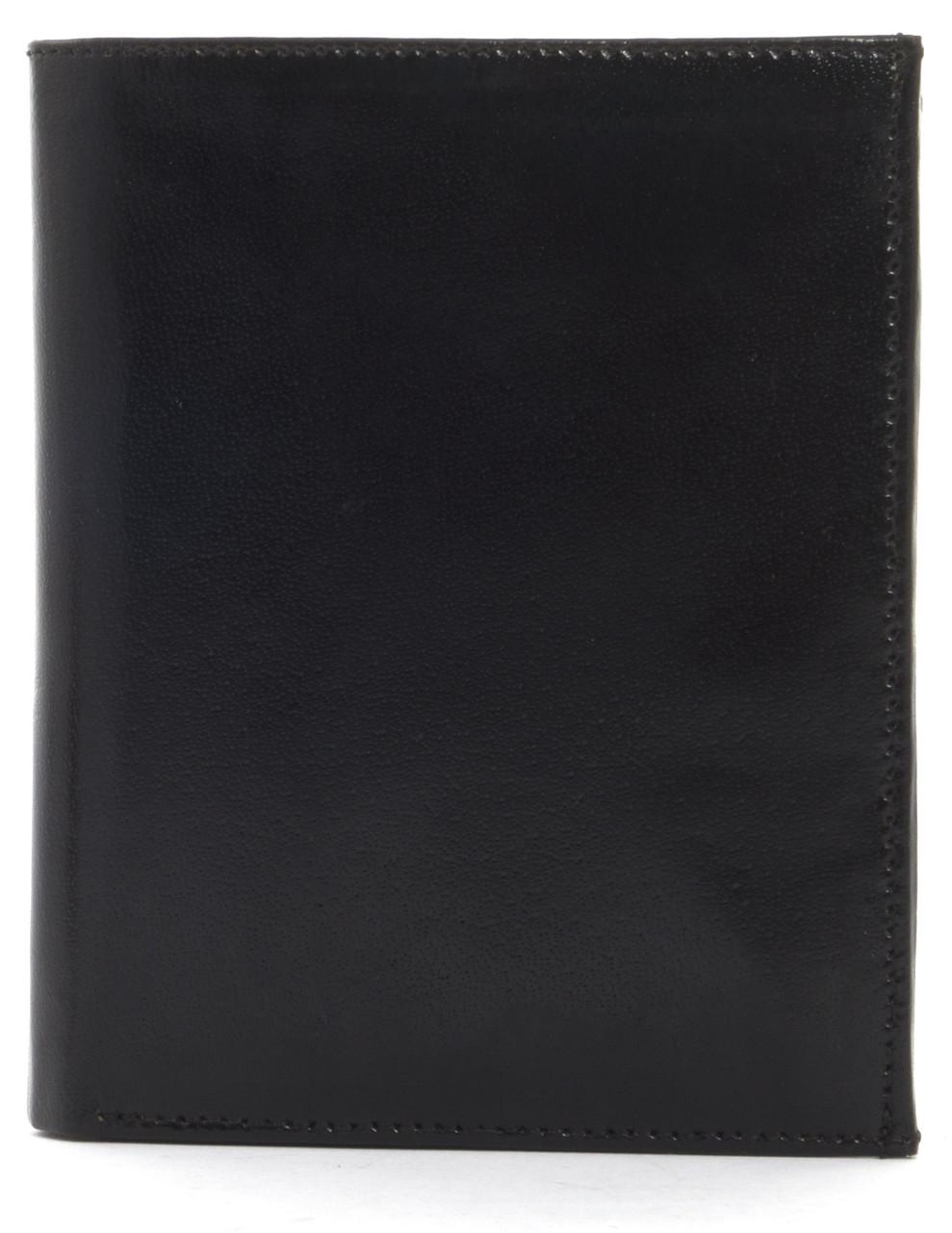 Кошелек мужской кожаный с большим количеством отделений BON VOYAGE art. MN472 черный, шлифованная кожа