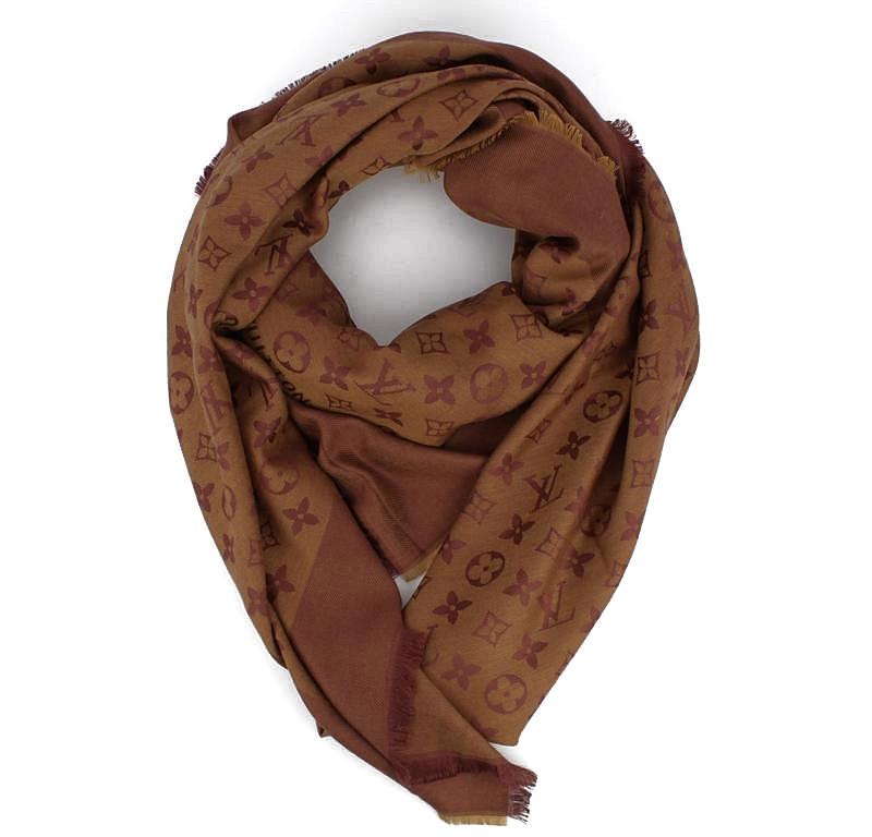 Кашемировая шаль шоколадная, платок двусторонний Louis Vuitton 7988-17