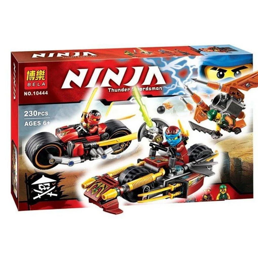 "Конструктор Bela Ninja 10444 (аналог Lego Ninjago 70600) ""Погоня на ниндзяциклах"" 230 дет Черный"