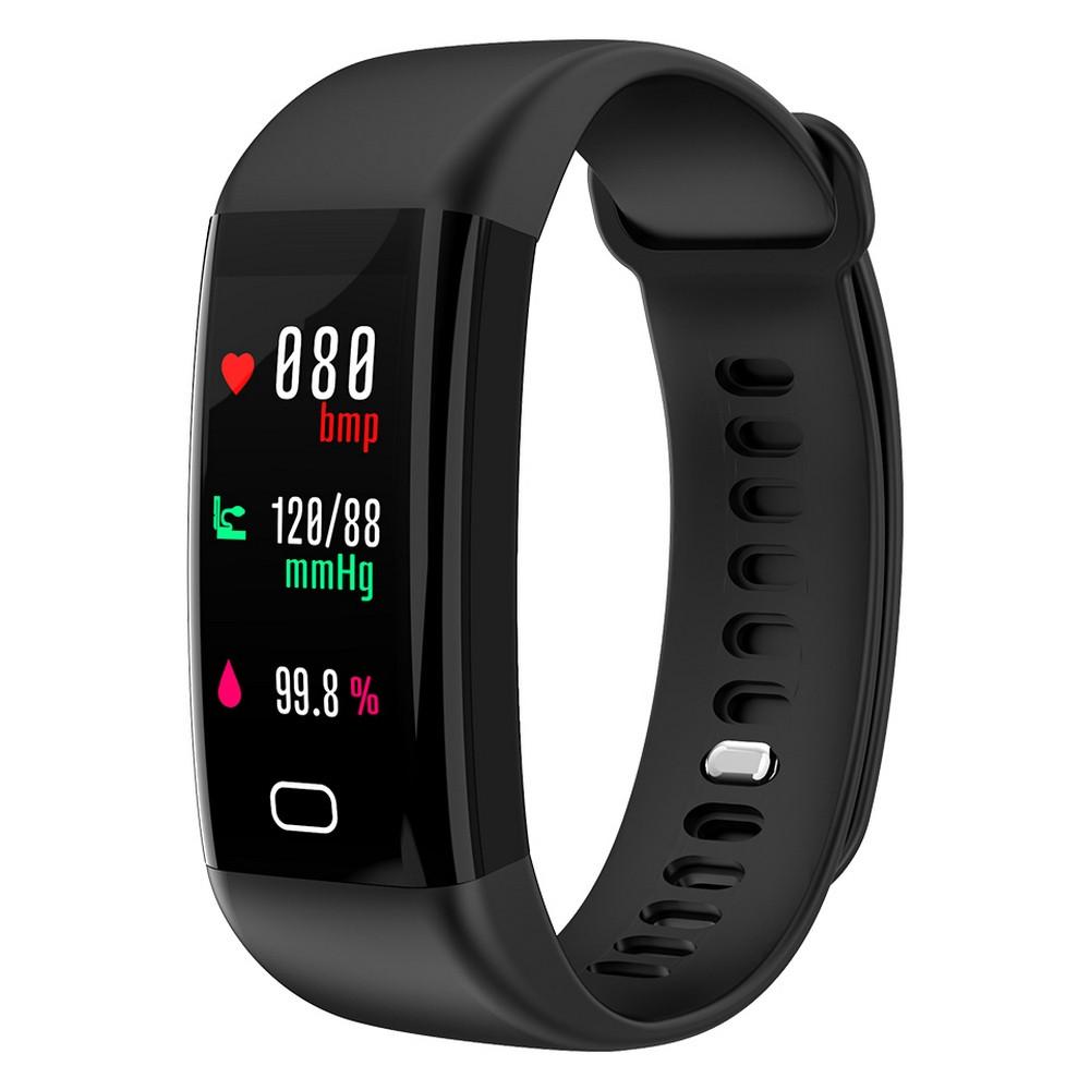 Фитнес браслет с тонометром F07 для iPhone и Android черный пульсометр давление крови калории вело