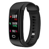 Умные часы с тонометром давление крови F07 фитнес браслет для iPhone и Android черный пульсометр калории вело
