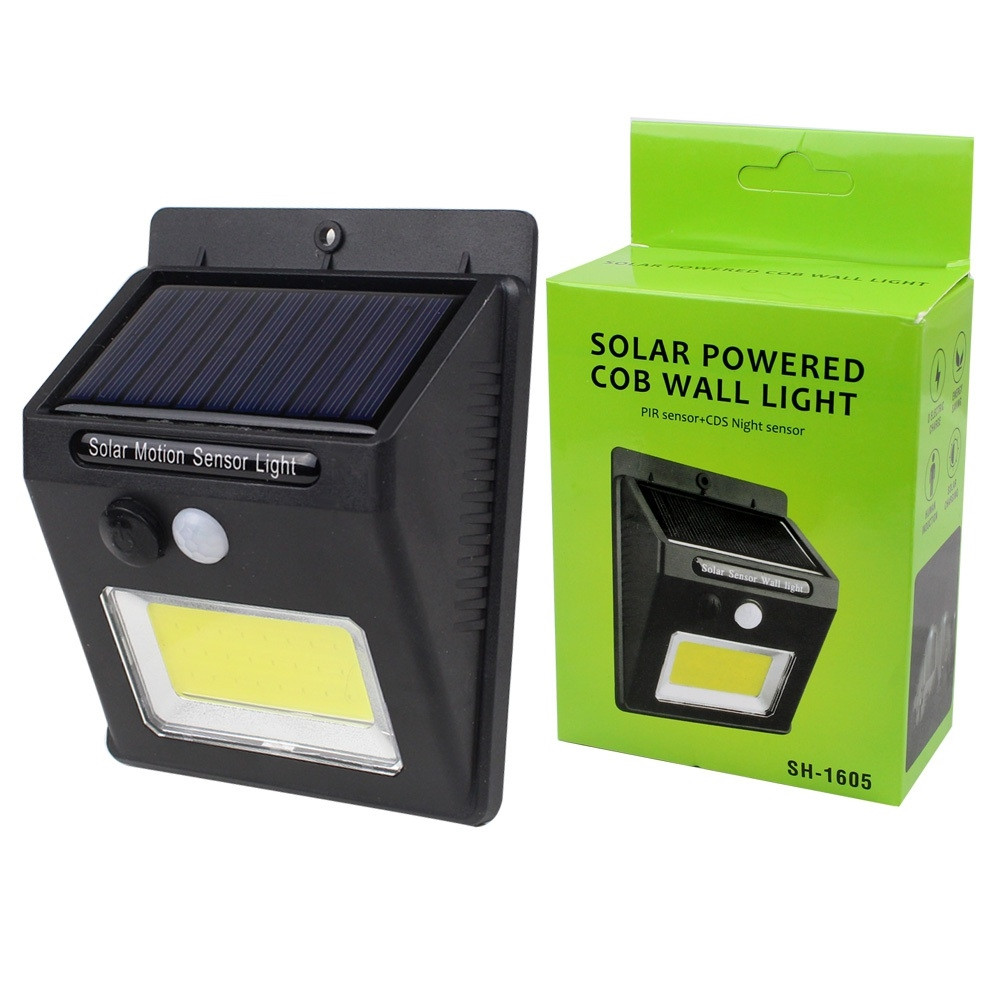 LED фонарь с датчиком движения и солнечной батареей COB 1605