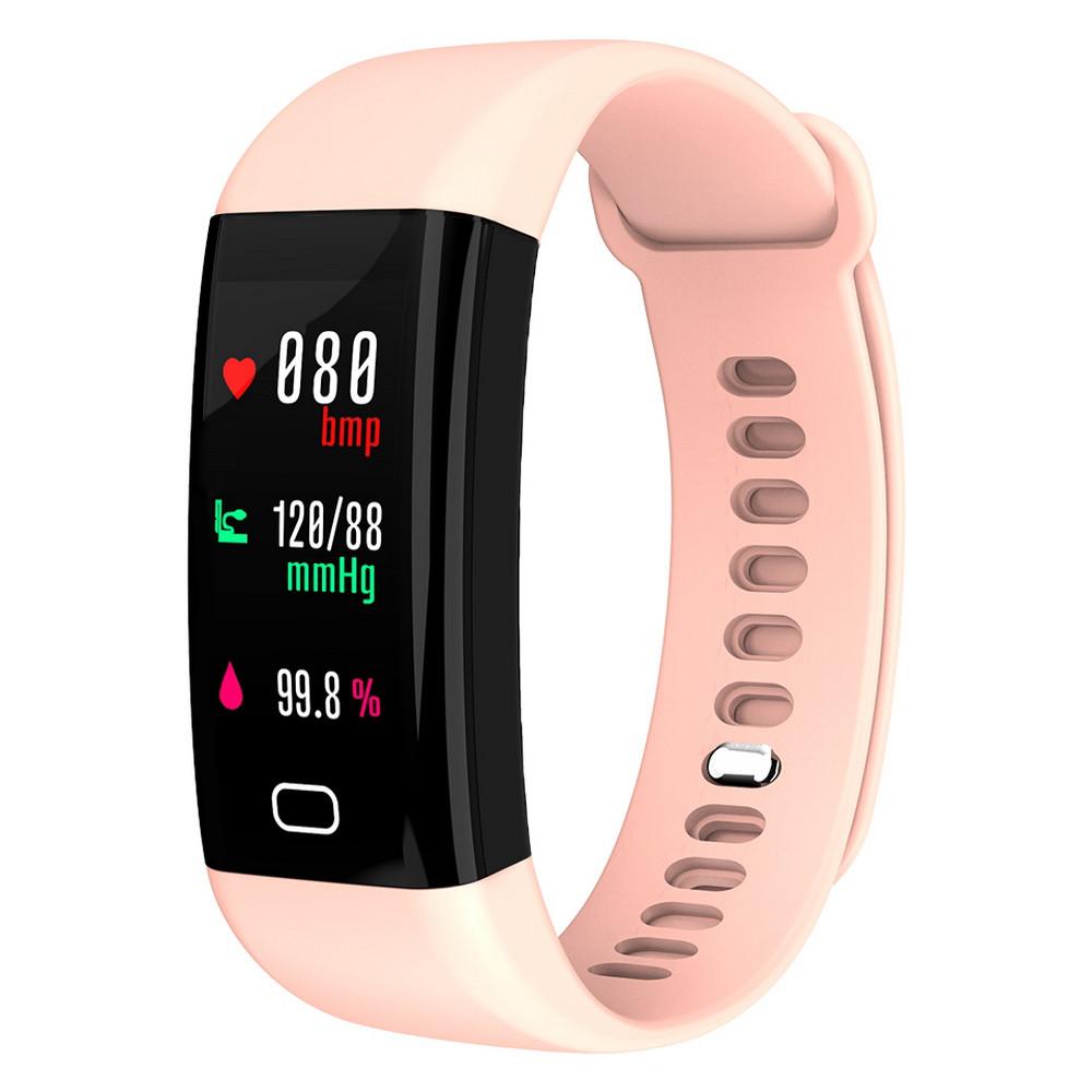 Фитнес браслет с тонометром F07 для iPhone и Android давление крови пульсометр калории датчик сна розовый
