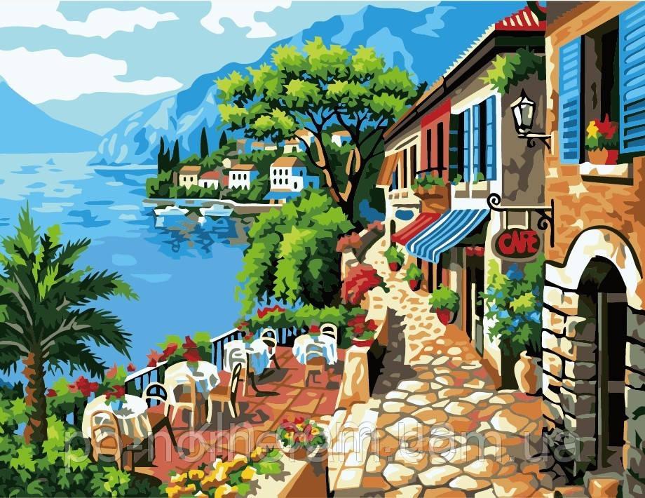 Картина по номерам Menglei MG1051 Кафе на берегу 40 х 50 см  950 город