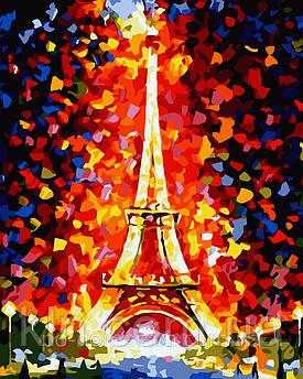 Картина за номерами Ідейка КН076 Ейфелева вежа у вогнях 40 х 50 см 950 місто