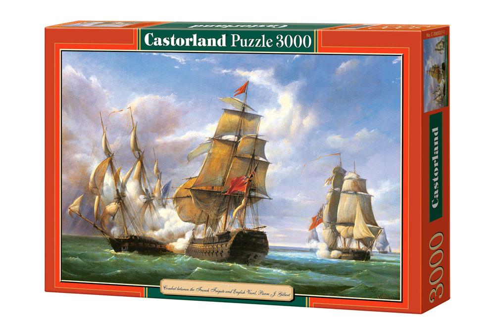 """Пазлы Castorland 3000 - """"Бой между французским фрегатом  LA CANONNIERE и английским кораблём THE TREMENDOUS""""."""