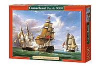 """Пазлы Castorland 3000 """"Бой между французским фрегатом  LA CANONNIERE и английским кораблём THE TREMENDOUS""""."""