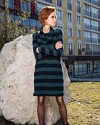 Женское тёплое платье с хомутом выше колена, зеленое 42, 44,46, 48