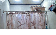 Карниз 150 см. для шторы в ванную комнату раздвижной из нержавеющей стали